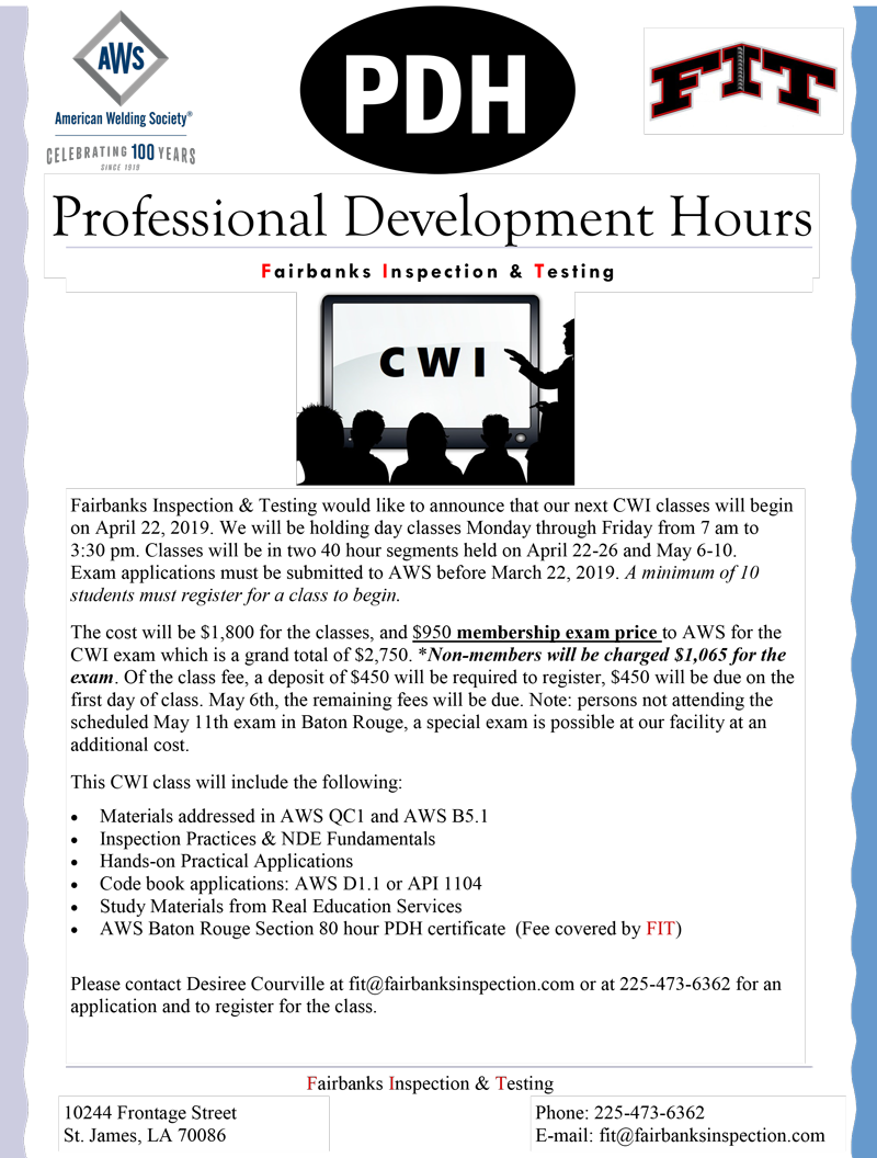 CWI Professional Development Hours – AWS Baton Rouge Section
