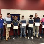 AWS Mobile Section Chairman Jody Heusmann (left) and 2019 Section Scholarship recipients at 9/12/2019 Section Meeting