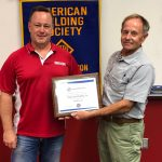 Mark Koester received an Industry Sponsorship Certificate from Mike Barnett, AWS Mobile Section 2nd Vice Chair.